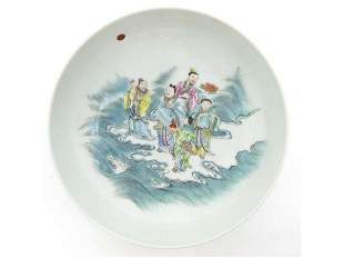 Vintage Chinese polychrome porcelain plates marked