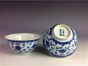 A pair of blue and white bowls sixcharacter mark on
