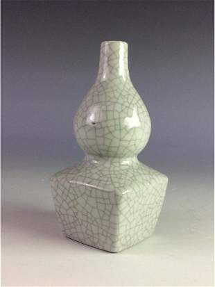 Chinese crackled glaze square double gourd bottle vase