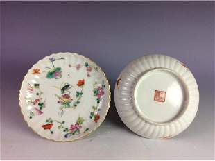 Pair of Chinese saucers both with mark on base