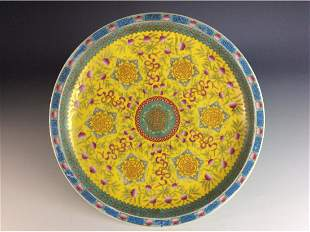 Chinese porcelain plate with peach and floral patterns