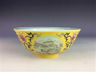 Chinese famillie rose bowl with landscaping