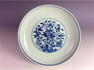 Chinese blue and white saucer with peach tree