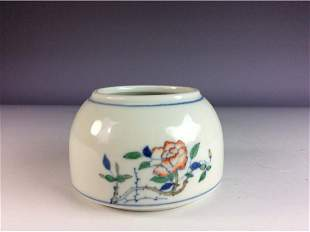 Elegant Chinese pot with rose and butterfly