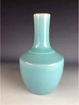 Chinese powder blue glaze vase with mark