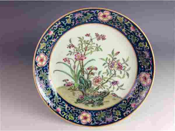 Elegant Chinese floral plate with mark