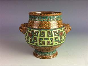 Rare Chinese pottery pot with ritual bronzes patterns