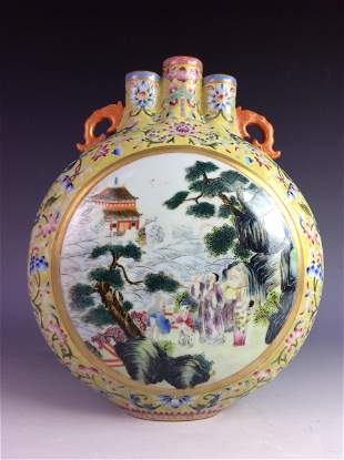 Chinese moon flask with landscaping and figures marked