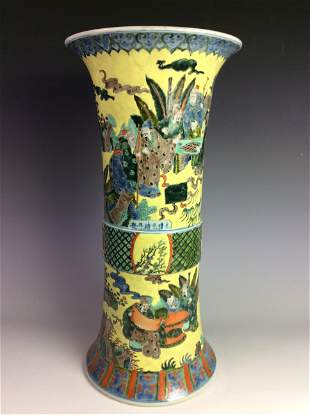 Chinese vessel with figures and landscaping marked