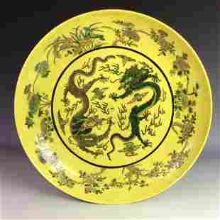 Exquisite Chinese famille verte charger with dragon