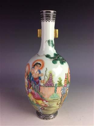 Chinese vase with figures mark on base