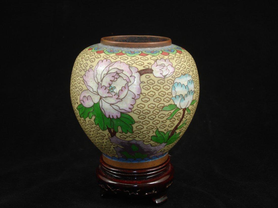 Chinese cloisonne pot, copper base