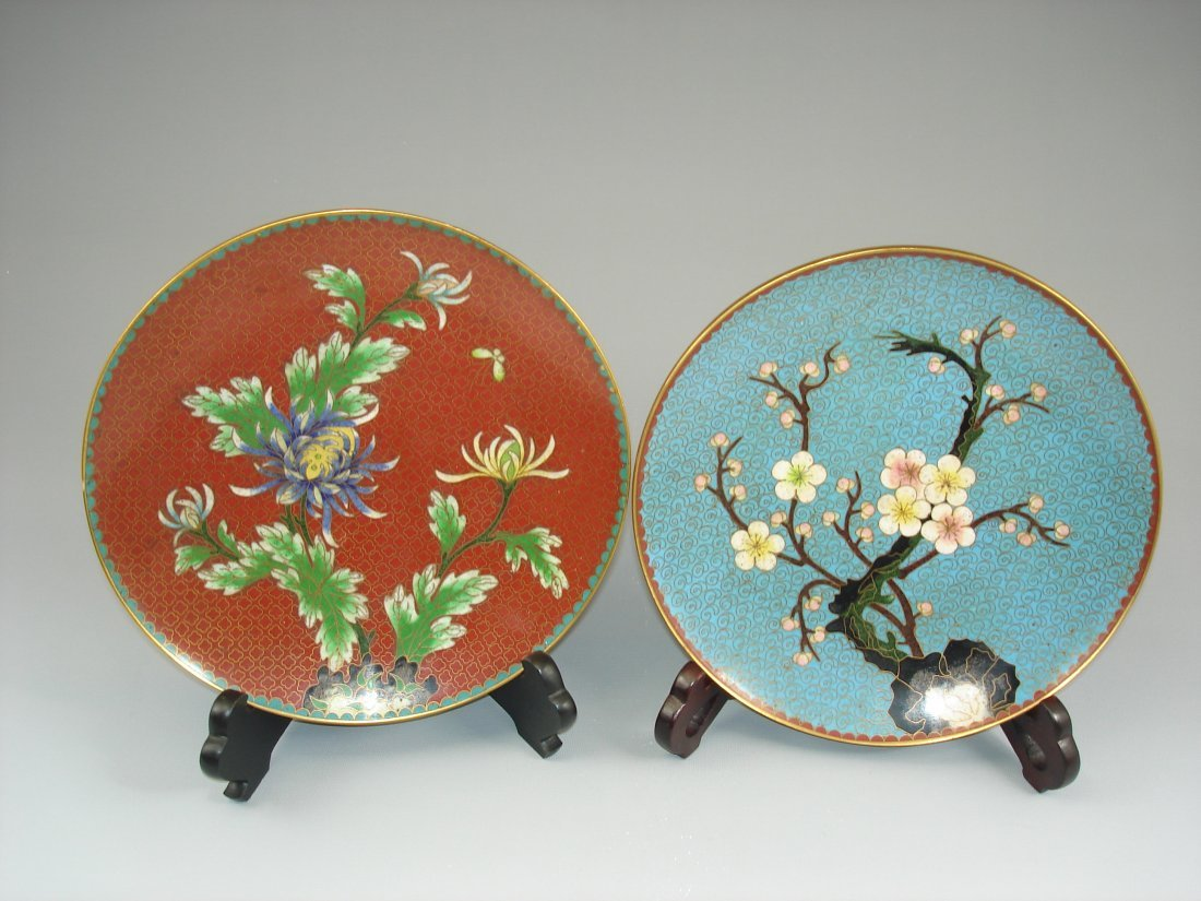 2 Chinese cloisonne, enamelled plates