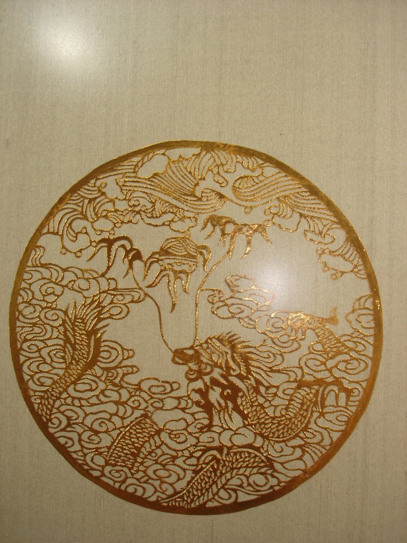 Framed Chinese enamel drawing with gold color