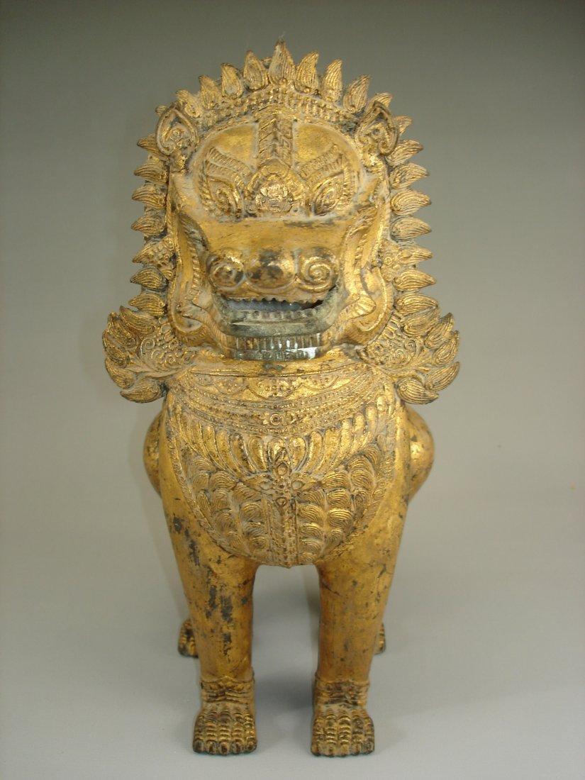 Chinese/Asian Metal Base Gilt Lion