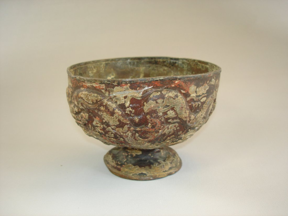 Yuan / Liao period or style metal stem cup decorated wi
