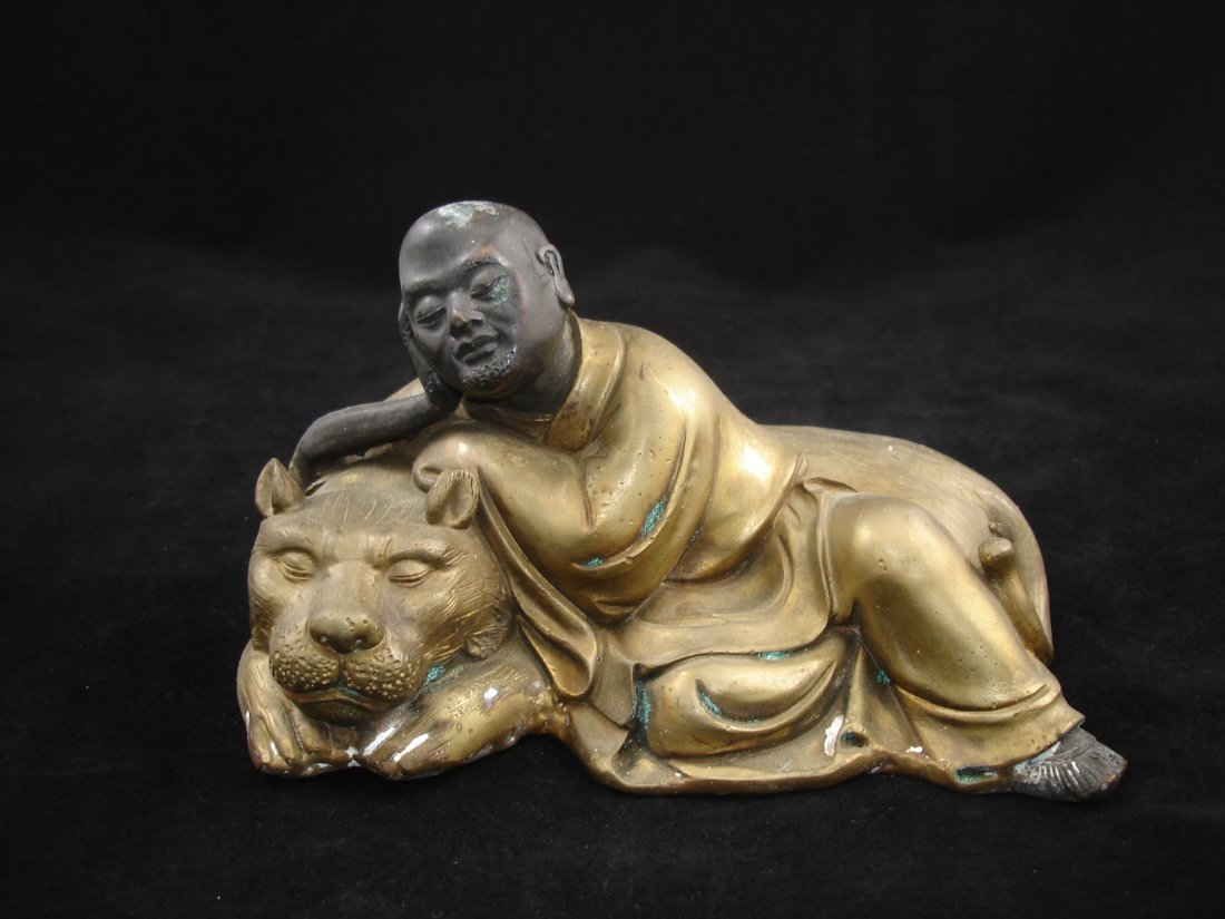 Bronze Antique Chinese Sleeping Arhat/ Luohan with Lion