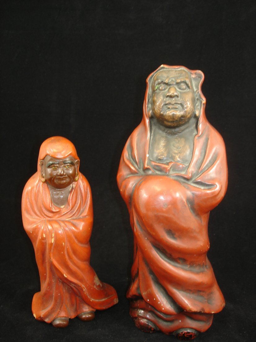 2  rare vintage Chinese  Arhat / Louhan Ststue with red