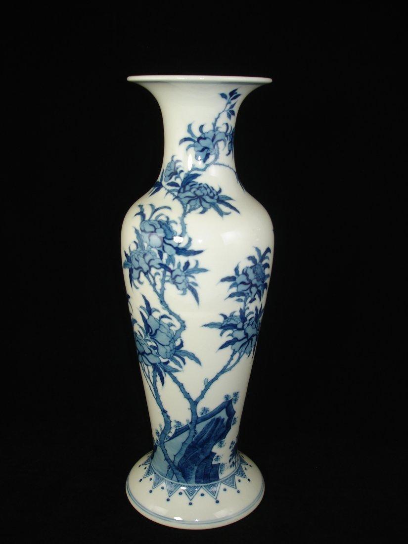Chinese B/W Peony Baluster Vase