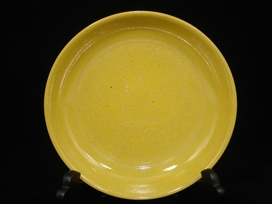 Chinese Yellow Glazed Engraved Dragon Dish/Plate Marked