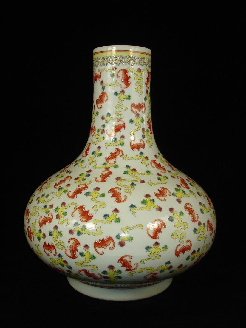 Chinese Famille Rose Hundred-Bat Baluster Vase marked
