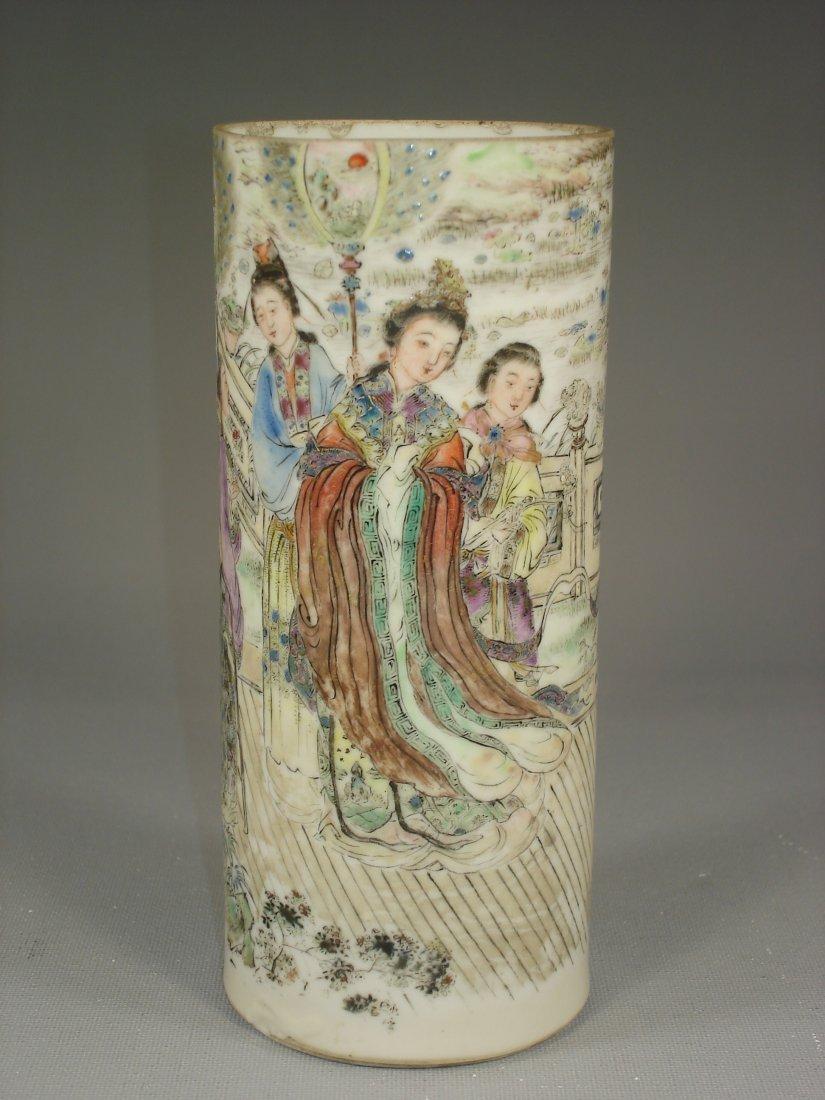 Vintage Chinese Famillie Rose Brush Pot