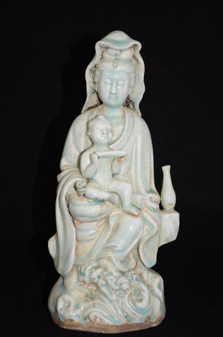 Chinese Qingbai Glazed Porcelain Statue of Guanyin/