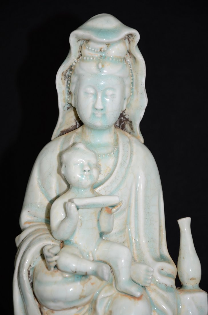 Chinese Qingbai Glazed Porcelain Statue of Guanyin/ - 5
