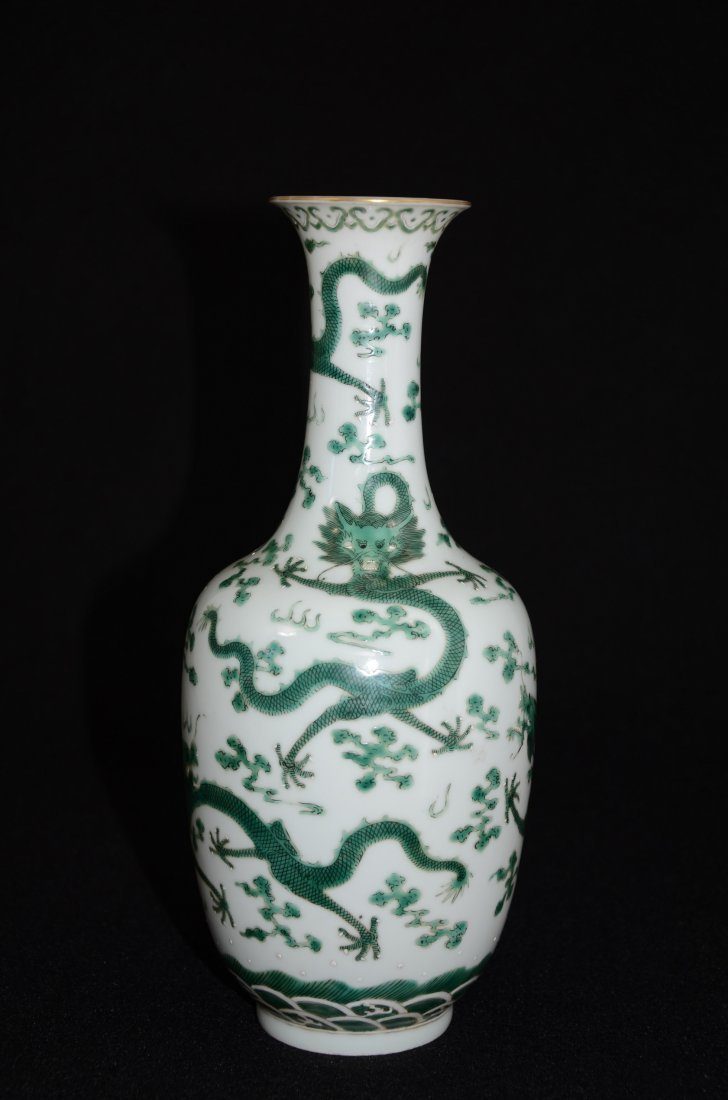 Chinese Porcelain Vase Decorated with Dragon & Waves on