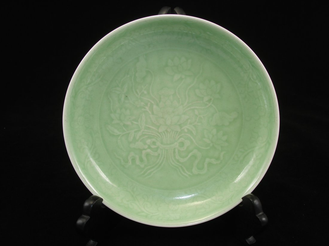 Chinese Fine Celadon Saucer with Lotus
