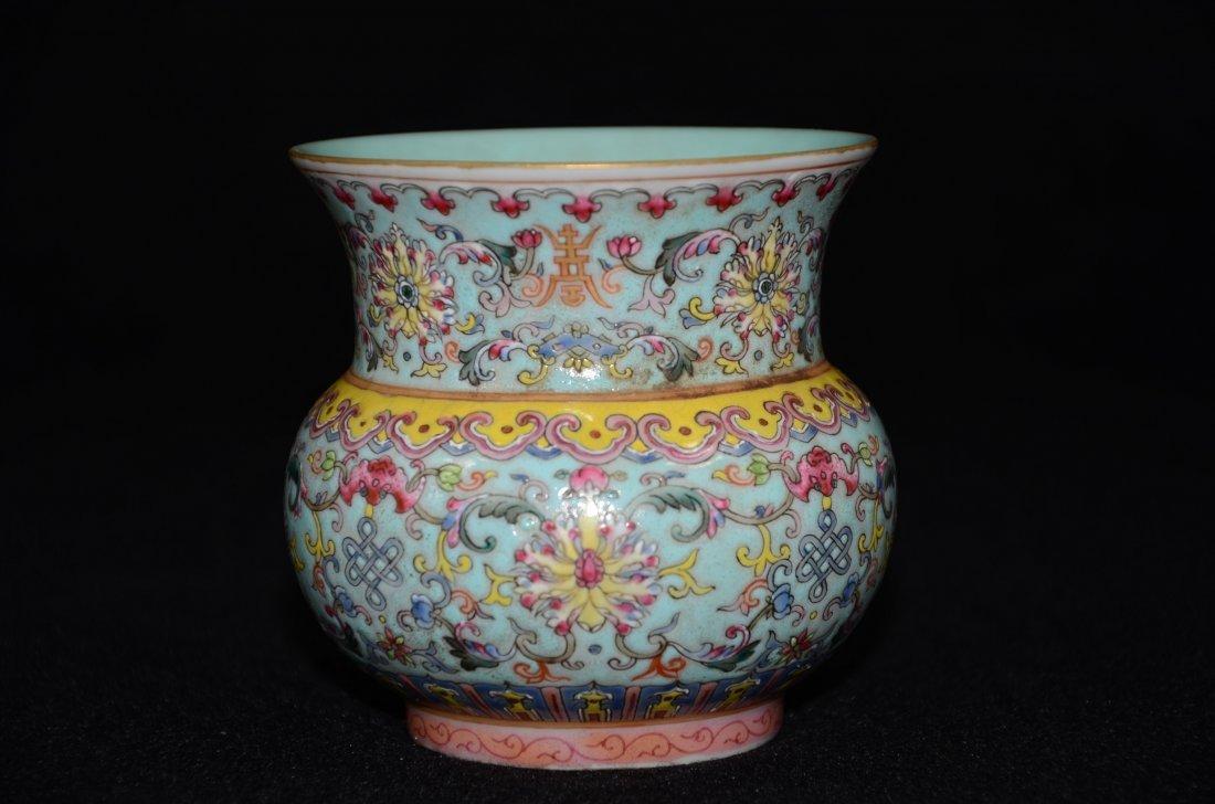Chinese Enameled Pot Turquoise Ground