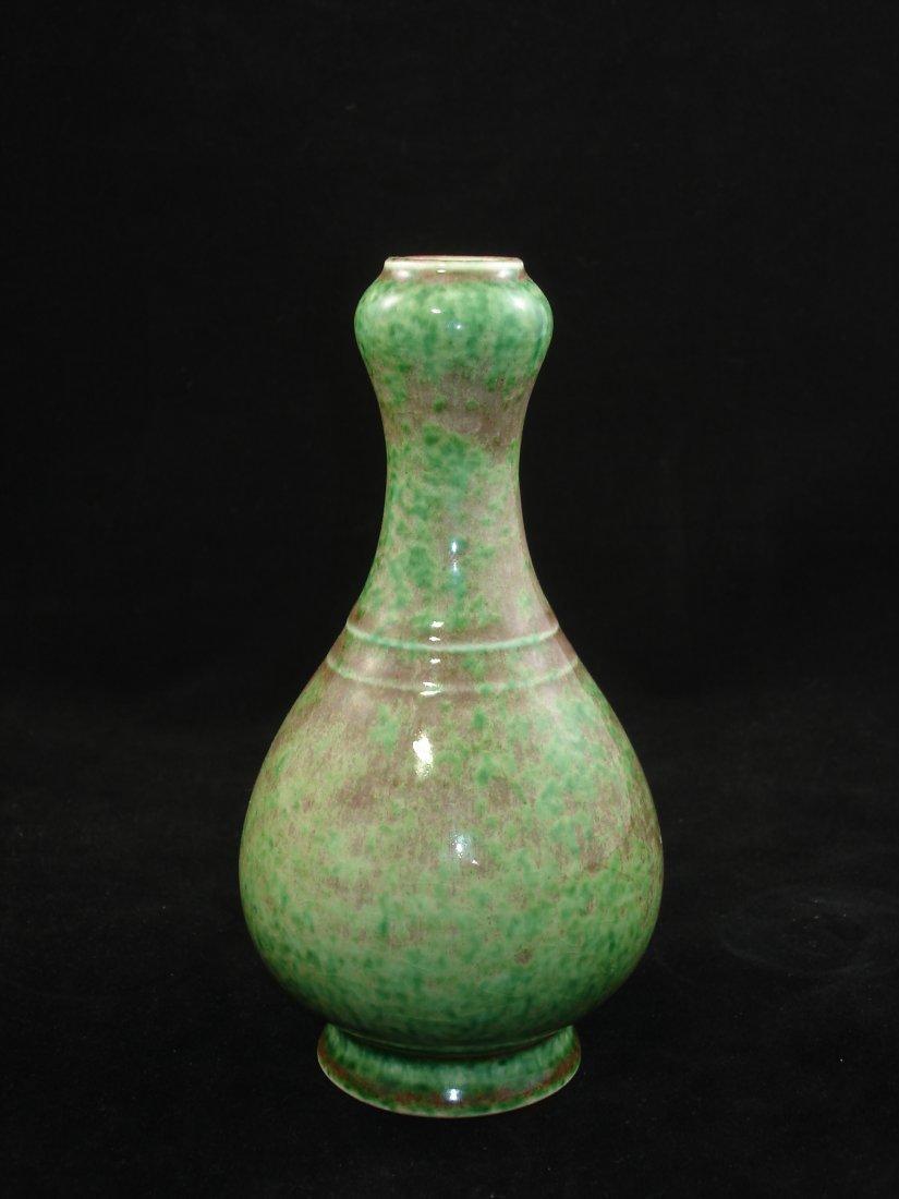 Chinese Garlic Top Peach Bloom Glaze Vase Marked