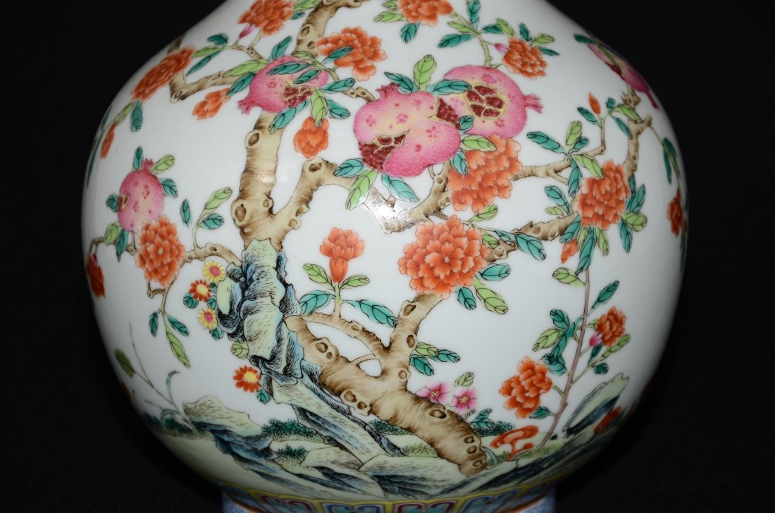 Chinese White PorcelainVase with Peach Tree - 4