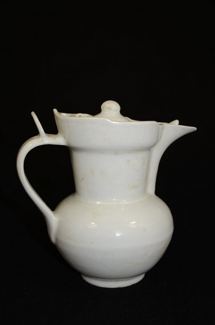 Ming style Chinese white porcelain wine pot