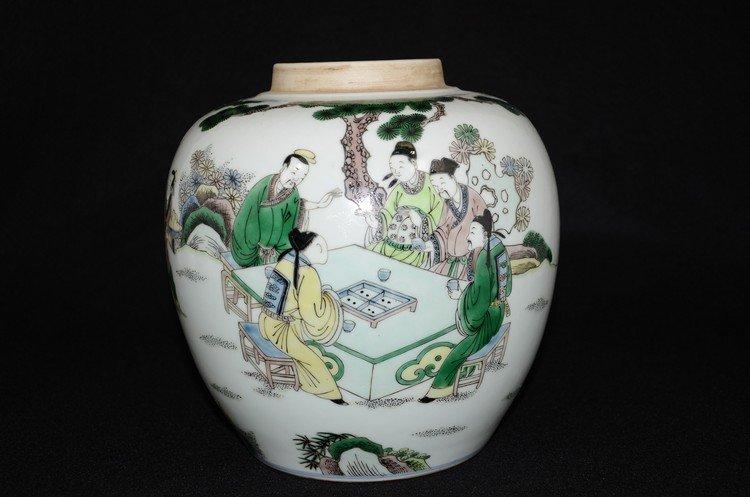 Chinese famille verte porcelain pot