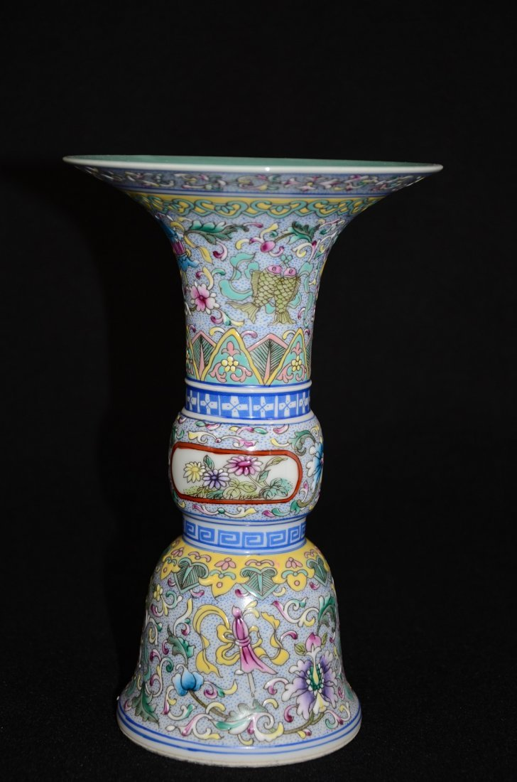 Chinese Chromatic Porcelain Vessel painted with foliage