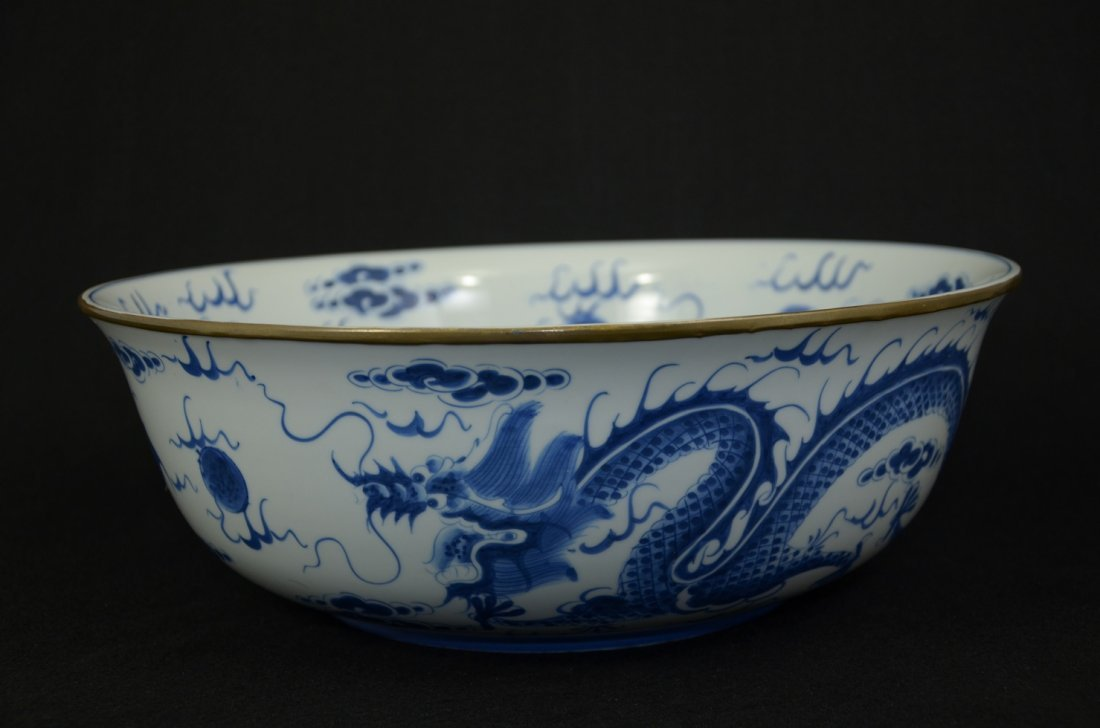 """14"""" Large Chinese B/W porcelain jar with dragons"""