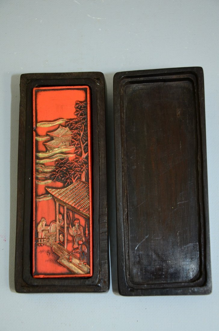 Solid wood boxed Chinese cinnabar ink stick