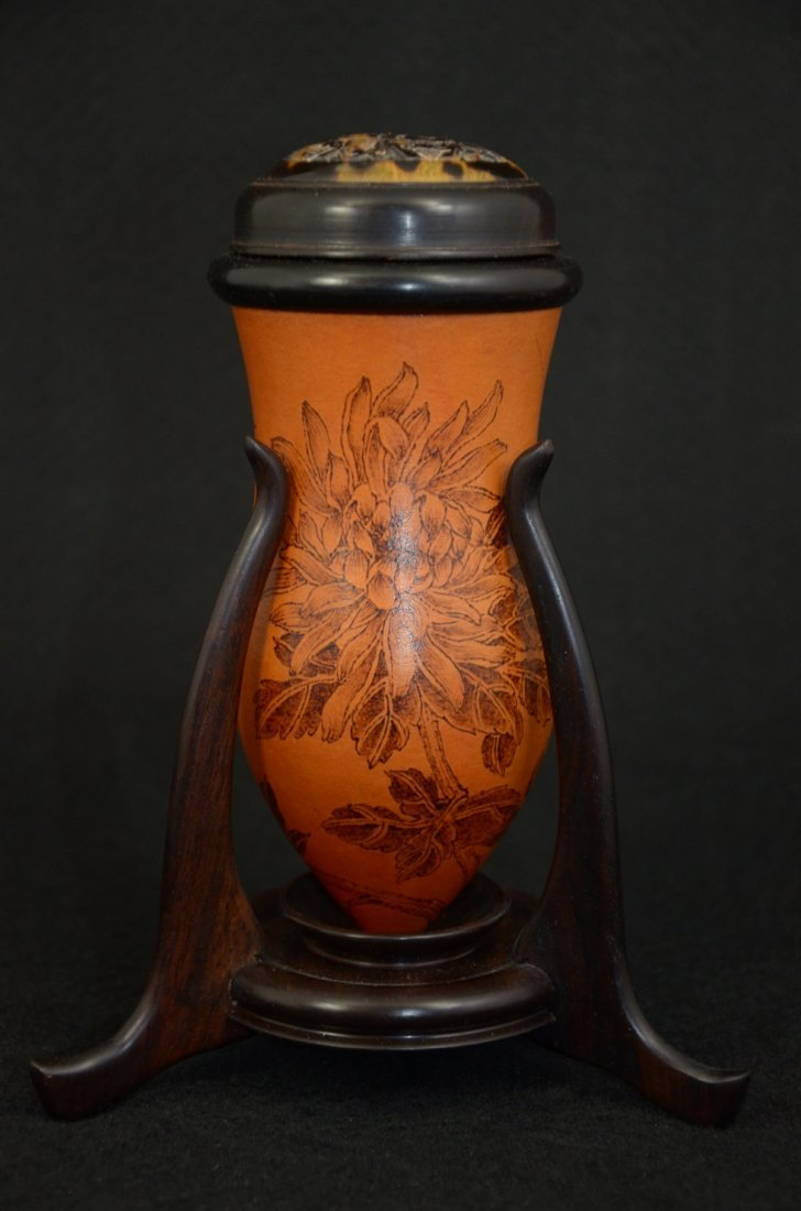 Chinese double gourd bottle cricket holder with carved