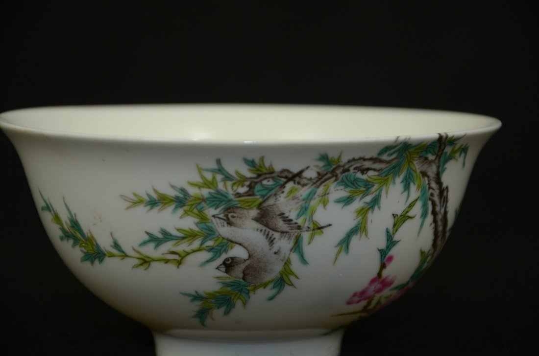 Chinese porcelain bowl with enameled sparrows  rose and