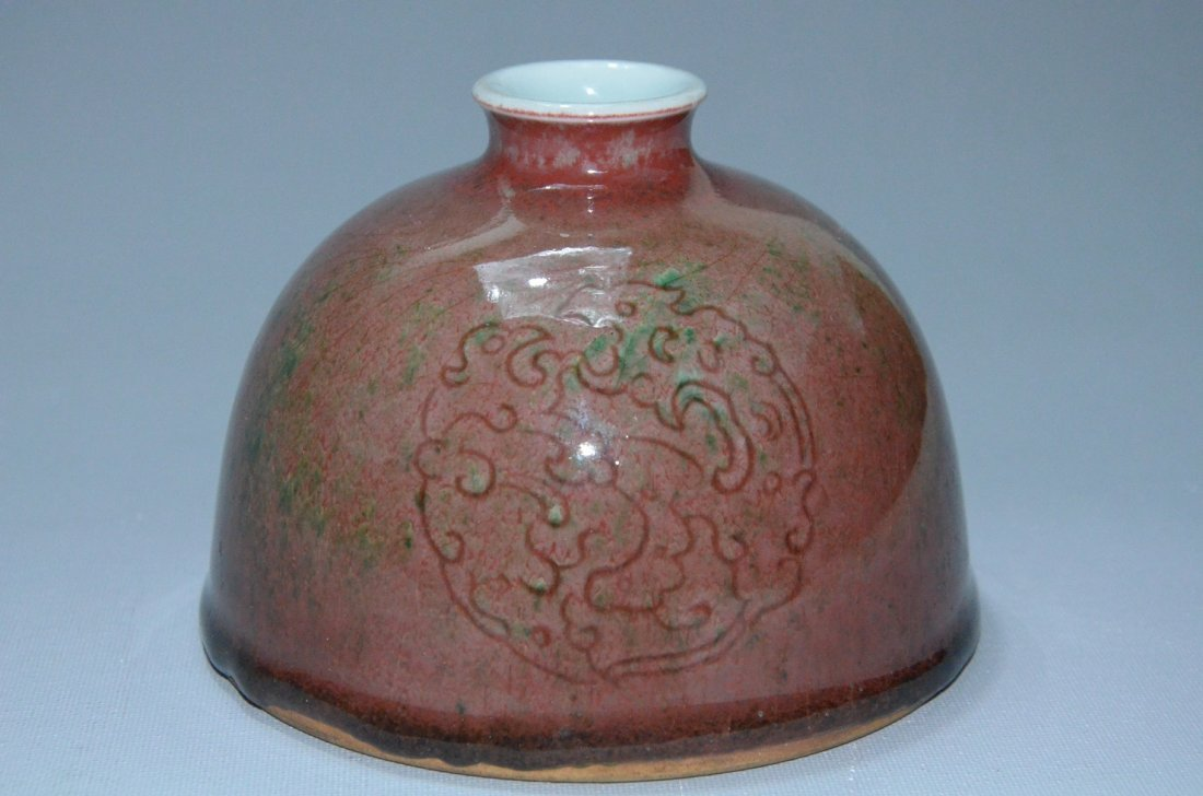 Rare Chinese peach bloom red glazed water dropper