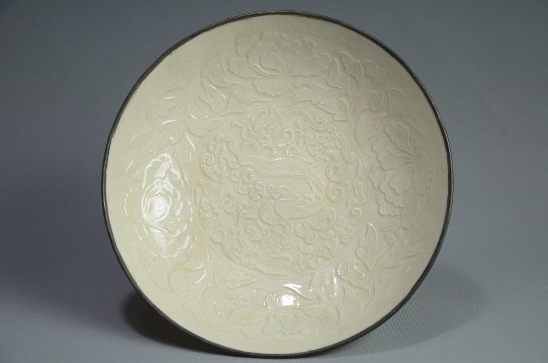 Rare Chinese Ding Kiln white glazed plate