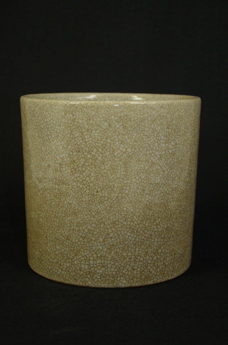Chinese Ge kiln style crackled glazed brush pot