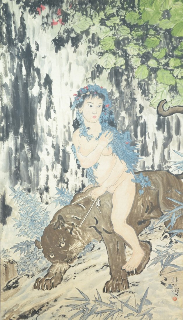 Chinese Painting Hanging Scroll, with Mountainous