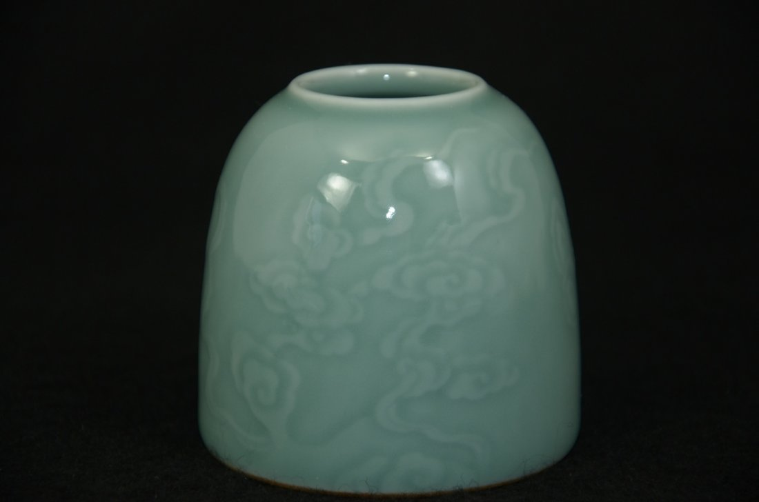 Chinese celadon bell-shaped pot with engraving of
