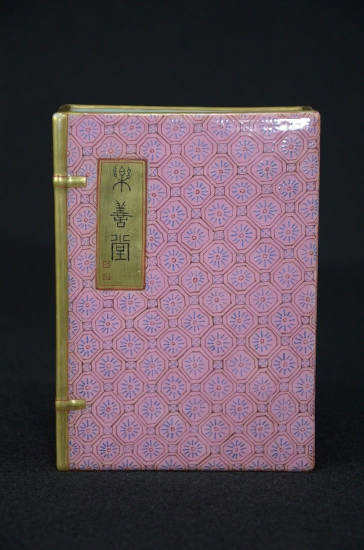 Rare Chinese Porcelain famille rose made as a book shap