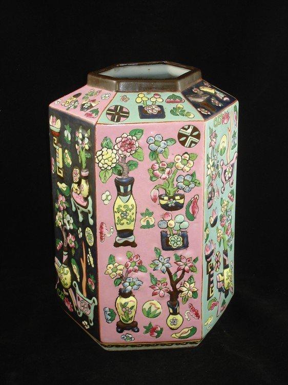 Chinese hexagonal vase enameled on copper base