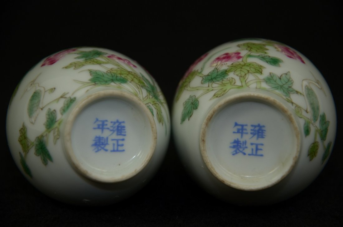 Pair of Chinese famille rose vase, marked
