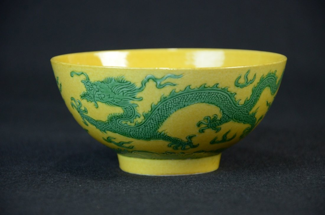 Chinese yellow ground, decorated with green glazed drag