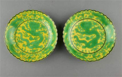Pair of Fine and rare Chinese Yellow ground with green